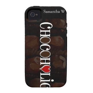 Chocoholic, Dark Brown and Red Heart Funny Design iPhone 4 Case