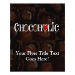 Chocoholic, Dark Brown and Red Heart Funny Design Flyer