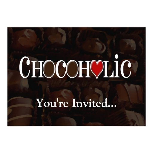 Chocoholic, Dark Brown and Red Heart Funny Design Invitations