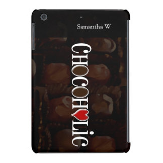 Chocoholic, Dark Brown and Red Heart Funny Design iPad Mini Retina Case