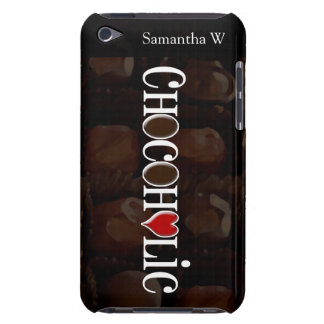 Chocoholic, Dark Brown and Red Heart Funny Design iPod Case-Mate Case