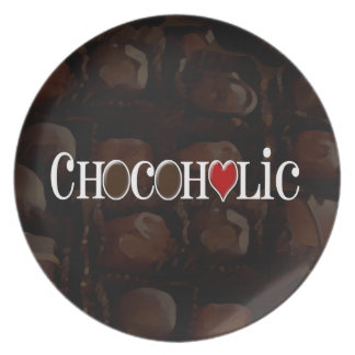 Chocoholic, Dark Brown and Red Heart Funny Design Dinner Plate