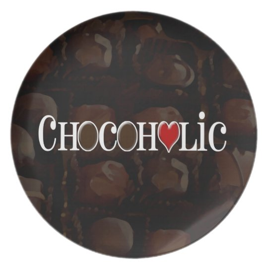 Chocoholic, Dark Brown and Red Heart Funny Design Plate