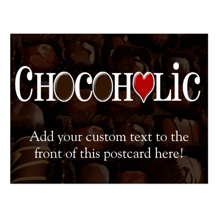 Chocoholic, Dark Brown and Red Heart Funny Design Postcard