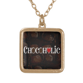 Chocoholic, Dark Brown and Red Heart Funny Design Square Pendant Necklace