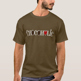 Chocoholic, Dark Brown and Red Heart Funny Design T-Shirt