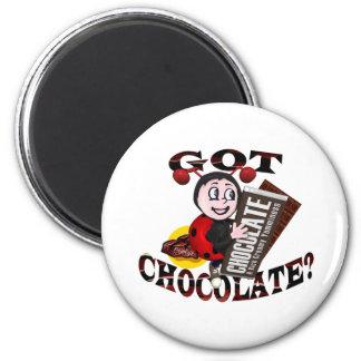 """Chocoholic Ladybug – """"Got Chocolate?"""" Design 2 Inch Round Magnet"""