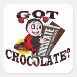 """Chocoholic Ladybug – """"Got Chocolate?"""" Design Square Sticker"""