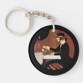 Chocolat Amatller Girl Drinking Cocoa Keychain