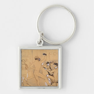 Chocolat Dancing, 1896 Silver-Colored Square Keychain