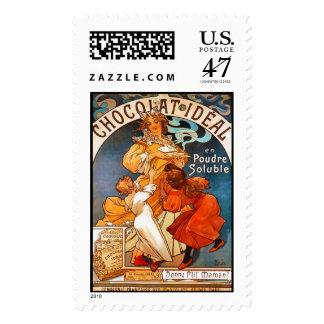Chocolat Ideal, Alphonse Mucha - Postage Stamp
