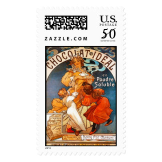 Chocolat Ideal, Alphonse Mucha - Postage Stamp