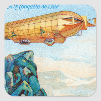 Chocolat Masson Ad with Zeppelin Airship Square Sticker