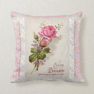 Chocolat Poulain Vintage Lace Throw Pillow