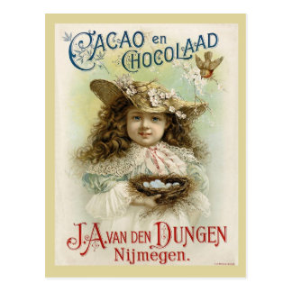 Chocolate Ad with Little Girl and Bird's Nest Postcard