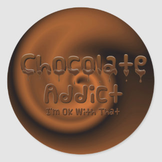 Chocolate Addict Classic Round Sticker