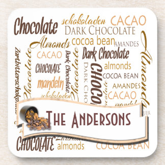 Chocolate, almendras y nube oscura de la palabra d posavasos de bebida