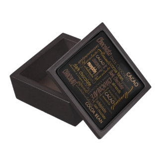 Chocolate, Almonds and Dark Chocolate Text Design Keepsake Box