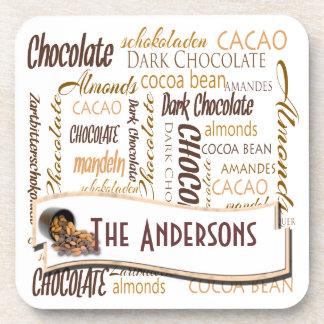 Chocolate, Almonds and Dark Chocolate Word Cloud Coaster