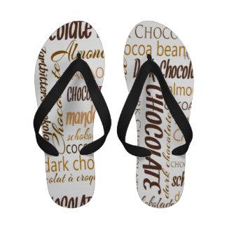 Chocolate Almonds and Dark Chocolate Word Cloud Sandals