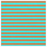 [ Thumbnail: Chocolate and Aqua Colored Stripes/Lines Pattern Fabric ]