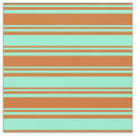 [ Thumbnail: Chocolate and Aquamarine Striped Pattern Fabric ]