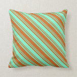 [ Thumbnail: Chocolate and Aquamarine Striped Pattern Pillow ]