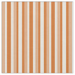 [ Thumbnail: Chocolate and Beige Colored Lined/Striped Pattern Fabric ]