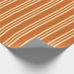 [ Thumbnail: Chocolate and Beige Lines Wrapping Paper ]