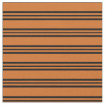 [ Thumbnail: Chocolate and Black Colored Lines/Stripes Pattern Fabric ]