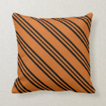 [ Thumbnail: Chocolate and Black Colored Lines/Stripes Pattern Throw Pillow ]