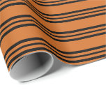 [ Thumbnail: Chocolate and Black Colored Lines/Stripes Pattern Wrapping Paper ]