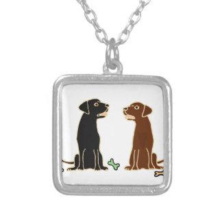 Chocolate and Black Labrador Retrievers Art Necklaces