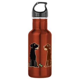 Chocolate and Black Labrador Retrievers Art 18oz Water Bottle