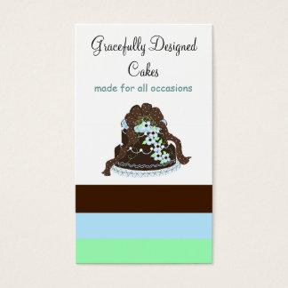 Chocolate and Blue Designer Cake Business Card