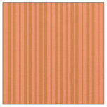 [ Thumbnail: Chocolate and Coral Stripes Pattern Fabric ]