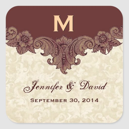 Chocolate and Cream Custom Wedding Names Date Square Stickers