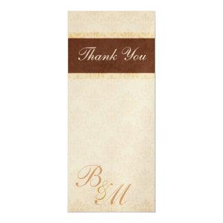 Chocolate and Cream Damask Monogrammed Wedding Tha Card