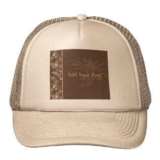 Chocolate and Cream Floral Scroll Trucker Hat