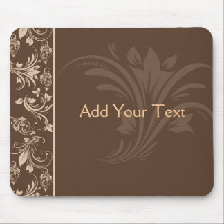 Chocolate and Cream Floral Scroll Mouse Pad