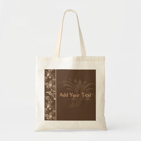 Chocolate and Cream Floral Scroll Tote Bag