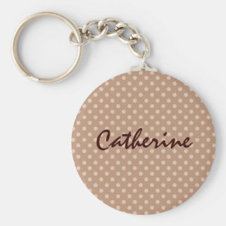 Chocolate and Cream Polka Dot Wedding Collection Keychain