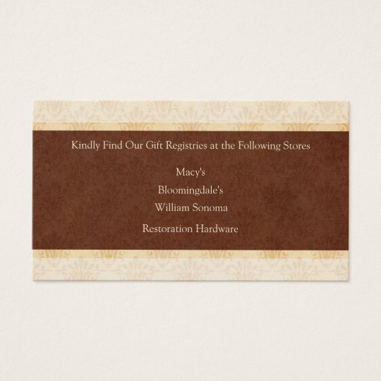 Chocolate and Cream Wedding Gift Registry Card