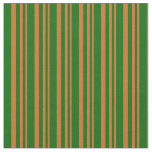 [ Thumbnail: Chocolate and Dark Green Lines Pattern Fabric ]