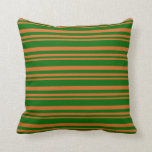 [ Thumbnail: Chocolate and Dark Green Lines Pattern Pillow ]
