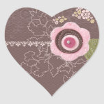 Chocolate and Flowers Heart Sticker