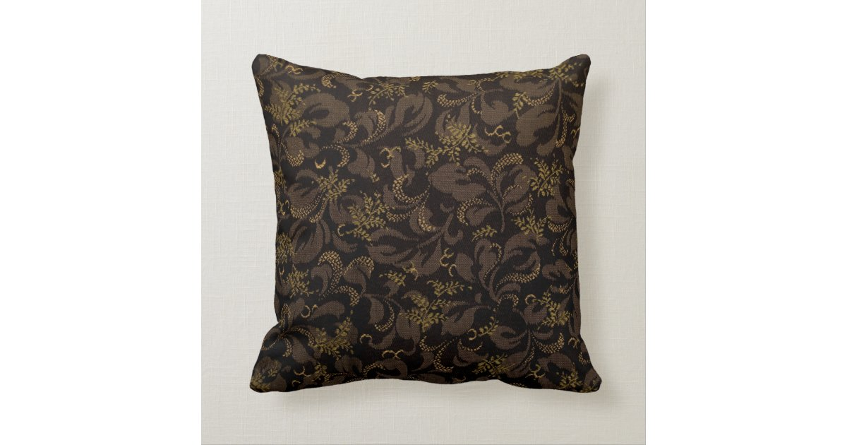 Chocolate and Gold Floral Damask Pattern Throw Pillow Zazzle