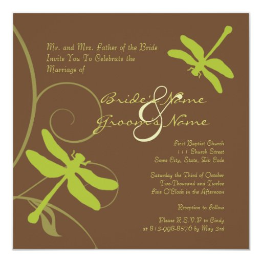Chocolate and Green Dragonfly Wedding Invitation