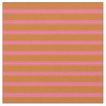 [ Thumbnail: Chocolate and Hot Pink Colored Pattern Fabric ]