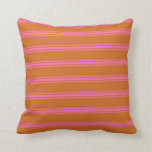 [ Thumbnail: Chocolate and Hot Pink Colored Pattern Pillow ]